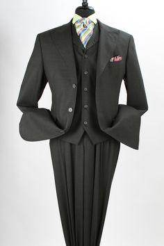 Royal Diamond Men's 3 Piece 100% Wool Fashion Suit - Side Vents - Clothing Connection Online