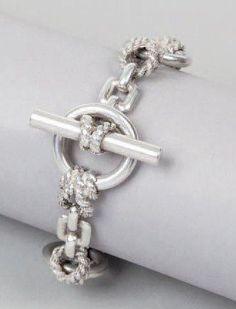 Hermès - Douarnenez - argent, noeuds tréssés et anneaux, fermeture bâtonnet
