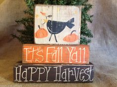 Primitive Country Crow It's Fall Y'all Happy Harvest Shelf Sitter Wood Blocks #PrimitiveCrow