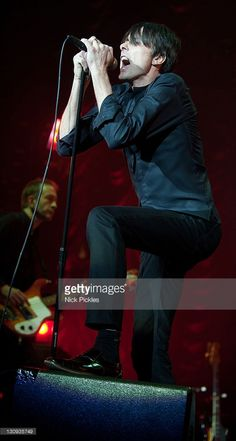 Brett Anderson performs with Suede at O2 Arena on December 7, 2010 in London, England.