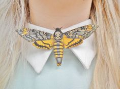 Cute Death's Head Hawk Moth Insect Bug Butterfly Nature Entomology Collar Pin Badge Brooch