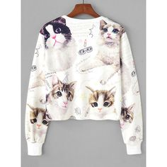 Cat Random Print Crop Sweatshirt ❤ liked on Polyvore featuring tops, hoodies, sweatshirts, white cropped sweatshirt, cat sweatshirts, patterned sweatshirts, crop tops and cat print top