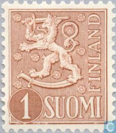 Stamps - Finland - Heraldic lion-new type. Stamp Catalogue, Postage Stamps, Finland, Lion, Type, Magenta, Coat Of Arms, Stamps, Leo