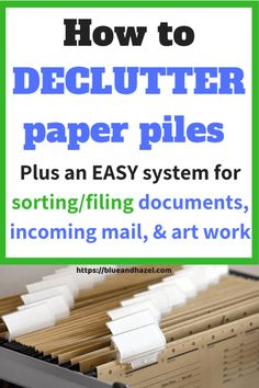Organizing Paperwork, Clutter Organization, Kids Room Organization, Organizing Life, Organizing Paper Clutter, Organizing Monthly Bills, Organizing Ideas, Speed Cleaning, House Cleaning Tips
