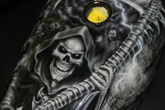 Awesome grim reaper theme on a Harley Davidson sportster.  Paint by Automotive Tattoos Custom Paint.