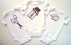 Roasted Marshmallow S'mores (Set of Three Onesies or Triplets Set) 3 Baby Bodysuits Size 3-6M - Chocolate Brown by MoMoPics on Etsy https://www.etsy.com/listing/158398403/roasted-marshmallow-smores-set-of-three