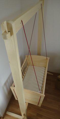 Handmade hanging cradle, made from pine tree. Handmade hanging cradle, made from pine tree. Hanging Bassinet, Hanging Cradle, Hanging Crib, Baby Cradle Plans, Baby Cradle Wooden, Baby Crib Diy, Baby Bassinet, Baby Hammock, Baby Swings