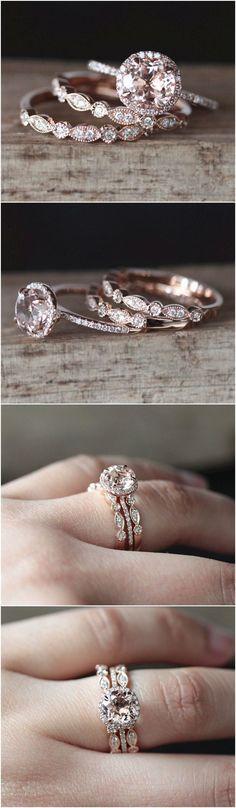 VS 7mm Round Cut Natural Morganite Ring Set 2PCS Art Deco Half Eternity Diamond Wedding Ring Set 14K Rose Gold Morganite Engagement Ring Set #weddingring