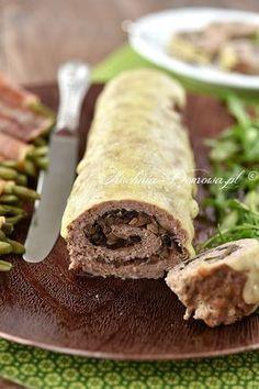 Rolada z mięsa mielonego z pieczarkami Calzone, Meatloaf, Tacos, Pork, Food And Drink, Low Carb, Ethnic Recipes, Impreza, Grated Cheese