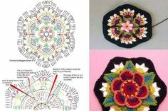 Best 12 Frida Flor Patrón gratuito – Paso a Paso We are want to say thanks if you like to share this post – SkillOfKing. Crochet Motifs, Granny Square Crochet Pattern, Crochet Blocks, Crochet Squares, Diy Crochet, Vintage Crochet, Crochet Doilies, Crochet Flowers, Crochet Stitches