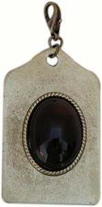 Oxidized Brass Luggage Tag Pendant with Tortoise Shell Cabochon @classiclegacy jewelry
