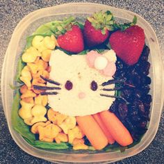 www.lunchboxdad.com.   My first attempt at a fun school lunch for my daughter.  Week 1: Hello Kitty.  Check out my blog for everything I used and how I did it. #hellokitty #bento #kidslunches