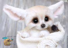 Купить Фенек - белый, фенек, лисичка, лиса, лиса игрушка, лиса из шерсти, юлия юркевич