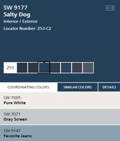 Salty Dog paint color SW 9177 by Sherwin-Williams. View interior and exterior paint colors and color palettes. Get design inspiration for painting projects. Exterior Paint Colors For House, Interior Paint Colors, Paint Colors For Home, Exterior Colors, Outside Paint, House Paint Color Combination, Front Door Colors, Paint Schemes, House Painting