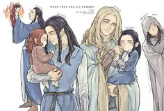 Tolkien at one point considered that elves were reborn as children after they left the Halls of Mandos. He later discarded this, but....it was a really cute idea. :) (Fingolfin died after Feanor...but of course, IF Feanor was ever let out it would have much later after Fingolfin.)