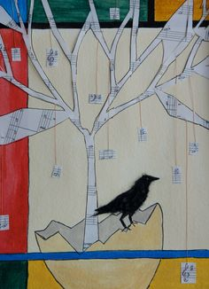 Crow with # 5. Paper, paper shreds, ink, house paint, thread, inspiration from google and Pinterest  8x10