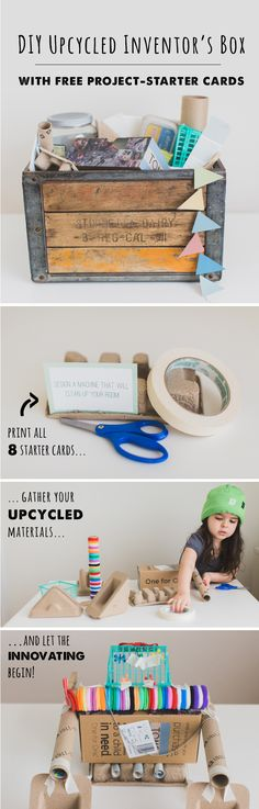 Upcycled Inventor's box - awesome Earth Day activity for teaching kids about recycling and creativity. Be sure to get the free printable idea cards!: