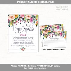 DIGITAL FILE - PRINT IT YOURSELF - NO PHYSICAL ITEM WILL BE SHIPPED ! PERSONALIZED TIME CAPSULE Turnaround time: 2-3 business days (or within 24 hours if you select the RUSH option upon checkout) ★★WHAT YOU WILL RECEIVE★★ - 8x10 Time Capsule Sign personalized with name and year