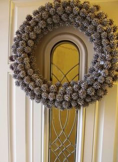 winter wreath made from gum tree seed pods then spray painted silver