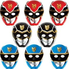 Paper Power Rangers Masks 8ct - Party City