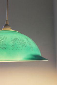 Pyrex Mixing Bowl Pendant Light - UpCycled