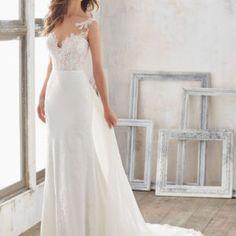 Illusion Neckline Crepe Sheath Wedding Dress • Ava's Bridal Couture Sheath Wedding Gown, V Neck Wedding Dress, Sexy Wedding Dresses, Wedding Gowns, Wedding Tips, Wedding Venues, December Wedding Dresses, Bridal Gowns, Madeline Gardner