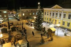 The annual Christmas Market in the Old Town of Kokkola Lds Mission, City Vibe, Helsinki, Old Town, Iceland, Tea Lights, Old Things, Christmas Tree, Holiday Decor