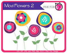 INSTANT DOWNLOAD - mod flower clip art, modern flower clipart, hand drawn original graphic for etsy banner, invitation, graphic design.