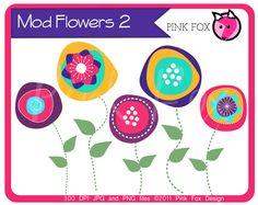INSTANT DOWNLOAD - mod flower clip art, modern flower clipart, hand drawn original graphic for etsy banner, invitation, graphic design.