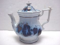 Antique Flow Blue Coffee Pot 1840`s MINTON & BOYLE Hand Painted Gothic England #MintonBoyle