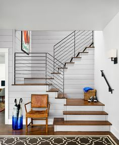 metal stair railings staircase in Staircase Farmhouse with metal railing black…