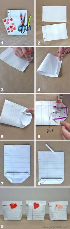 diy notebook paper bags ~ this is totally cool for a teacher's gift or valentines :D . and if you change paper for small Xmas gifts Notebook Diy, Notebook Paper, Valentine Treats, Valentines Diy, Diy Valentine's Treat Bags, Valentines Bricolage, Papier Diy, Ideias Diy, Crafty Craft