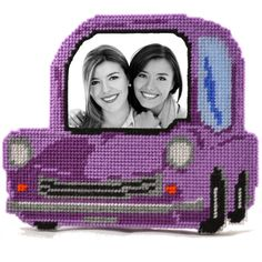 Purple car plastic canvas kit for beginners.