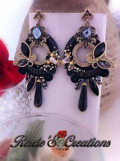 Soutache Earrings, Big Earrings, Black Earrings, Bead Jewellery, Jewelery, Flower Box Gift, Shibori, Earrings Handmade, Swarovski Crystals