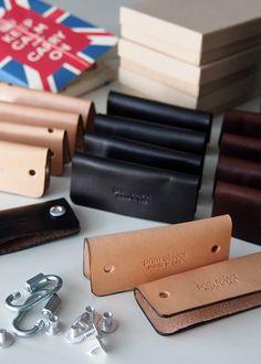 Elegantly simple men's leather keychain