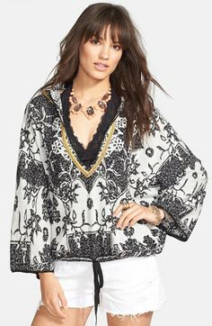 Free People 'Kanuk' Print Contrast Trim Hoodie available at #Nordstrom