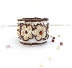 Crochet Bracelet  Beaded Bracelet  Crochet Cuff  by CraftsbySigita