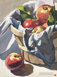 Basket of Apples by Heather Martin, Watercolor, 12 x 9 - Heather Ihn Martin Art Painting easy Painting ideas Painting water Painting tutorials Painting landscape Painting abstract Watercolor Painting Fruit Painting, Gouache Painting, Painting & Drawing, Painting Abstract, Art Inspo, Painting Inspiration, Painting Still Life, Still Life Art, Bel Art