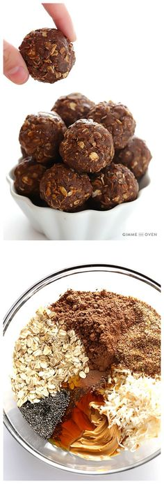 Chocolate Peanut Butter No-Bake Energy Bites -- full of protein, naturally-sweetened, and perfect for breakfast, snacking, or dessert! | http://gimmesomeoven.com