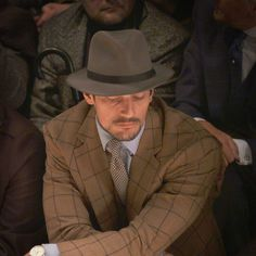 David Gandy takes in the Burberry Menswear A/W15 collection from the front row