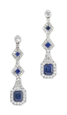 A pair of Art Deco sapphire and diamond drop earrings A pair of Art Deco sapphire and diamond drop earrings in white millegrain settings, each comprising a single old brilliant cut diamond top weighing an estimated 0.18ct, a small diamond set in a box collet and three geometric, articulated square cut and emerald cut sapphire and diamond cluster sections, circa 1930, gross weight 4.7 grams.