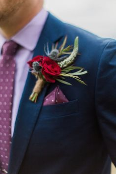 Wedding boutonniere ideas, red flowers, blue thistle, rustic farm wedding, purple shirt and tie, groom fashion, follow this board for endless bout ideas // Ayla Skorupa Photography