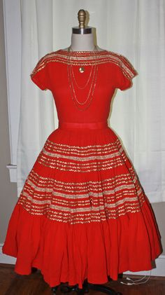 Vintage 1950s Red & Gold Top and Skirt Roackabilly Christmas Outfit. $85.00, via Etsy.