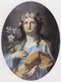 """Saint of the Day – September 4 – St Rosalia also called La Santuzza or """"The Little Saint"""" – Patron Palermo and of Italian fishermen of Monterey, California #pinterest St. Rosalia was a descendant of the great Charlemagne. She was born at Palermo in Sicily. In her youth, her heart turned from earthly vanities to God. She left her home.............