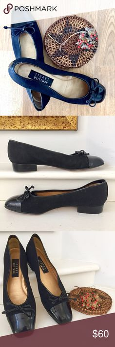 """Stuart Weitzman Flats, Size 8 Stuart Weitzman Flats, size 8. 3/4"""" heel. W17790. Styled with black fabric and accented with black patent toes and ties, black patent trim and vertical strip on back of heels. Super condition with no scuffs or scratches. Seldom worn. Stuart Weitzman Shoes Black Fabric, Fashion Design, Fashion Tips, Fashion Trends, Stuart Weitzman, Ties, Flats, Best Deals, Womens Fashion"""