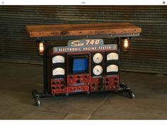 Steampunk Bar, Old Barn Wood, Under The Table, Led Light Strips, Automotive Art, Strip Lighting, Metal Bands, Wood Table, Engineering