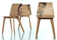 Furniture & Design Fair Koln Imm Cologne 2013 -  Go Green! Oakwood Zeitraum Chair Morph With Old Prints of Chinese Ladies