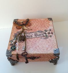 Wooden box with key charm and mini journal album inside made using graphic 45 a ladies diaries and old curiosity shop papers & Tim Holts ideology corners/feet :) x