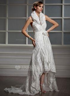 Wedding Dresses - $176.99 - A-Line/Princess Halter Asymmetrical Taffeta Wedding Dress With Ruffle Flower(s) (002012923) http://jjshouse.com/A-Line-Princess-Halter-Asymmetrical-Taffeta-Wedding-Dress-With-Ruffle-Flower-S-002012923-g12923