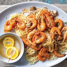 Taste Mag | Oven-baked prawns and mushroom pasta @ https://taste.co.za/recipes/oven-baked-prawns-mushroom-pasta/